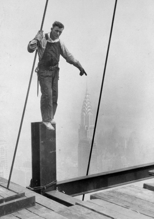 Lewis Hine Empire State Building Construction Worker Touching The Top Of The Chrysler Building 1930