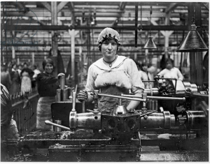 Woman working in an arms factory, c.1916 (b:w photo), Moreau, Jacques (b.1887) : Archives Larousse, Paris, France : Giraudon : The Bridgeman Art Library