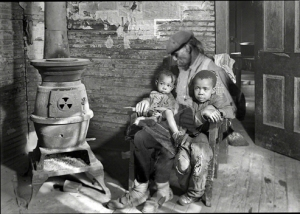 Recreation of the same a Lewis Hine photograph with a male person.