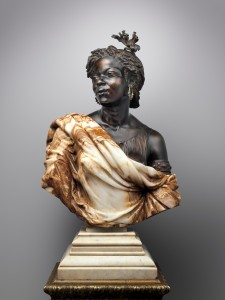Charles-Henri-Joseph Cordier. La Capresse des Colonies, 1861. Algerian onyx-marble, bronze and gilt bronze, and enamel; white marble socle. 37 ¾in x 23 1/4 in. 208.4 lb. European Sculpture and Decorative Arts Fund, 2006.