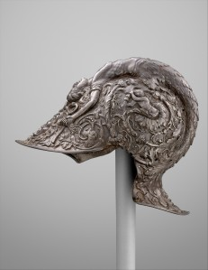 Filippo Negroli, Burgonet, 1513. Steel and Gold, 9 1/2in. x 7 5.16 in, 4 lb 2 oz. Gift of J. Pierpont Morgan, 1917.