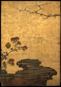 The Old Plum, Edo period (1615–1868), ca. 1645 Attributed to Kano Sansetsu (Japanese, ca. 1589–1651) (DETAIL)