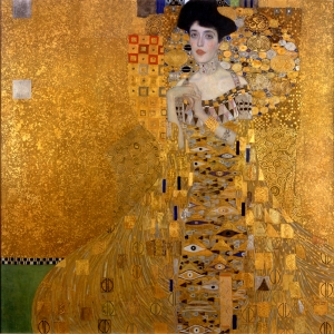 "Gustav Klimt. Portrait of Adele Bloch-Bauer I, 1907. Oil on canvas. 4'6"" x 4'6"" in. Neue Galerie, New York."