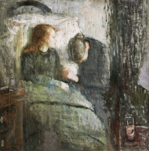 Edvard Munch, The Sick Child, 1885-6. Oil on canvas, 120 × 118.5 cm.  Nasjonalgalleriet, Oslo.