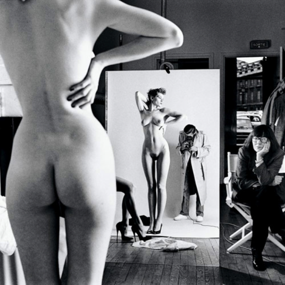 Helmut Newton. Self-portrait with wife and model. 1981.