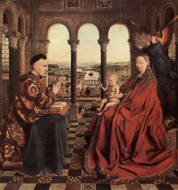 Jan van Eyck. Madonna of Chancellor Rolin. France. 1435.