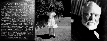 "Latoya Ruby Frazier, ""John Frazier, LaToya Frazier and Andrew Carnegie,"" aluminum plate, 2010. Prototype for ""A Monument for Braddock"""